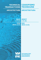 Technical Transactions iss. 5. Architecture iss. 1-A