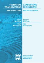 Technical Transactions iss. 14. Architecture iss. 8-A
